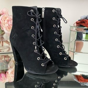 BCBG BLACK SUEDE LACE UP BOOTIES